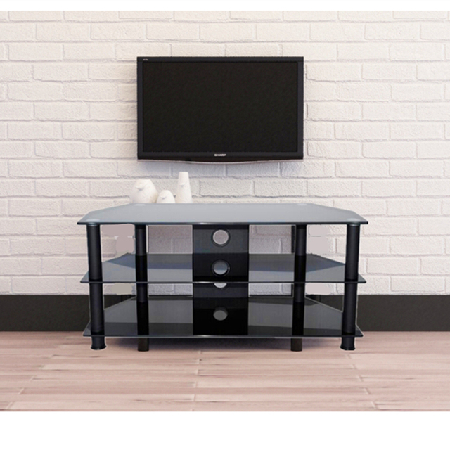 TV Stand Modern Black 5mm Tempered Glass 3 Shelf Living Room Furniture HOT SALE