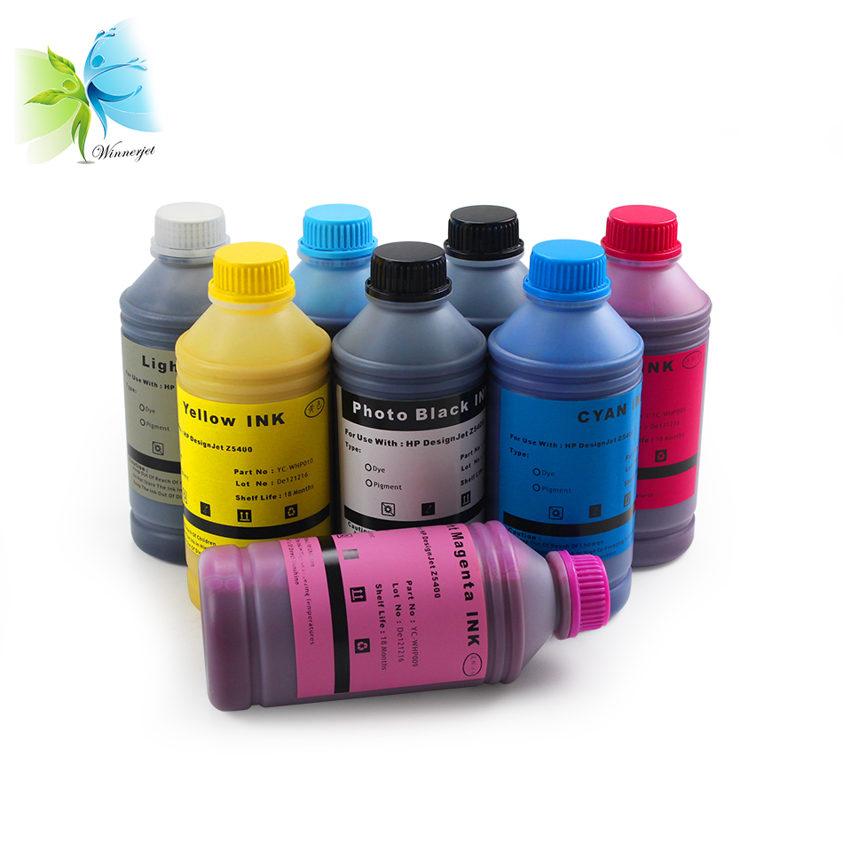 Winnerjet 1000ML for 70 772 8 colors pigment ink for HP Designjet Z5400 Z5400PS plotter refilling inkjet ink in Ink Refill Kits from Computer Office