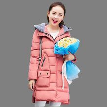 Winter 2016 New Cotton Down Jacket Female Medium long Thicken Korea Big yards Hooded Down Cotton-padded Jacket Tide M-XXXL G0544
