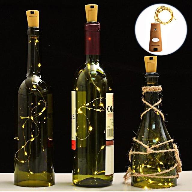 Wholesale 10Pcs/lot 200cm Waterproof LED String Lights Wine Bottle Cork Stopper Indoor Festival Wedding Decoration String Light