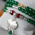 6mm Green Jade Bracelet Longevity Tibet Silver Lock Pendant Female Jewelry Bracelet Multilayer Chain Necklace Natural Stone
