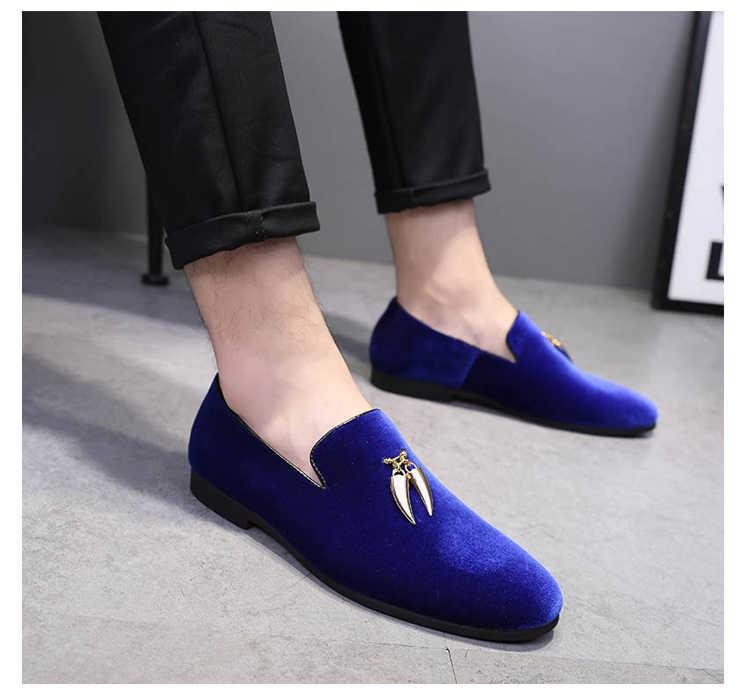 Zwart Rood Blauw Fluwelen Mens Casual Bruiloft Flats Loafers Schoenen 2018 Herfst Mannelijke Loafers Schoenen Mujers Rijden Schoenen Studs Flats