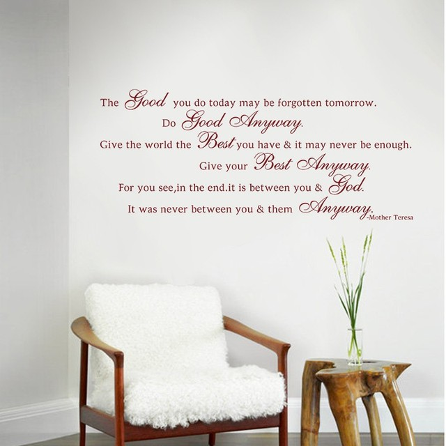 Mother Teresa Quote Give The World The Best You Have Do Good - Cool custom vinyl decals for carsdecalfxcom thebest wall decals for your home custom vinyl