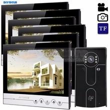 DIYSECUR 9inch Video Record/Photograph Video Door Phone Doorbell Waterproof HD RFID Camera Home Security Intercom System 1V6