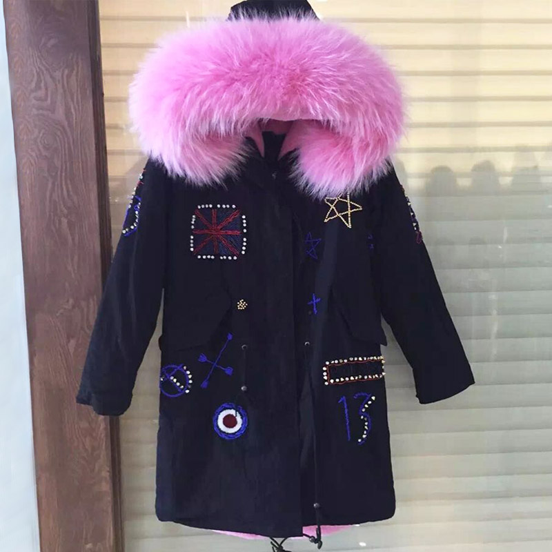 Britain beading long style winter faux fur jacket woman parka with pink faux fur lining raccoon collar