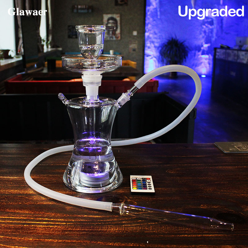 Glawaer Small Russian style Glass Hookahs Huge Vapor Shisha Chicha Vaporizer Narguiles Smoking Water Pipes With LED Light