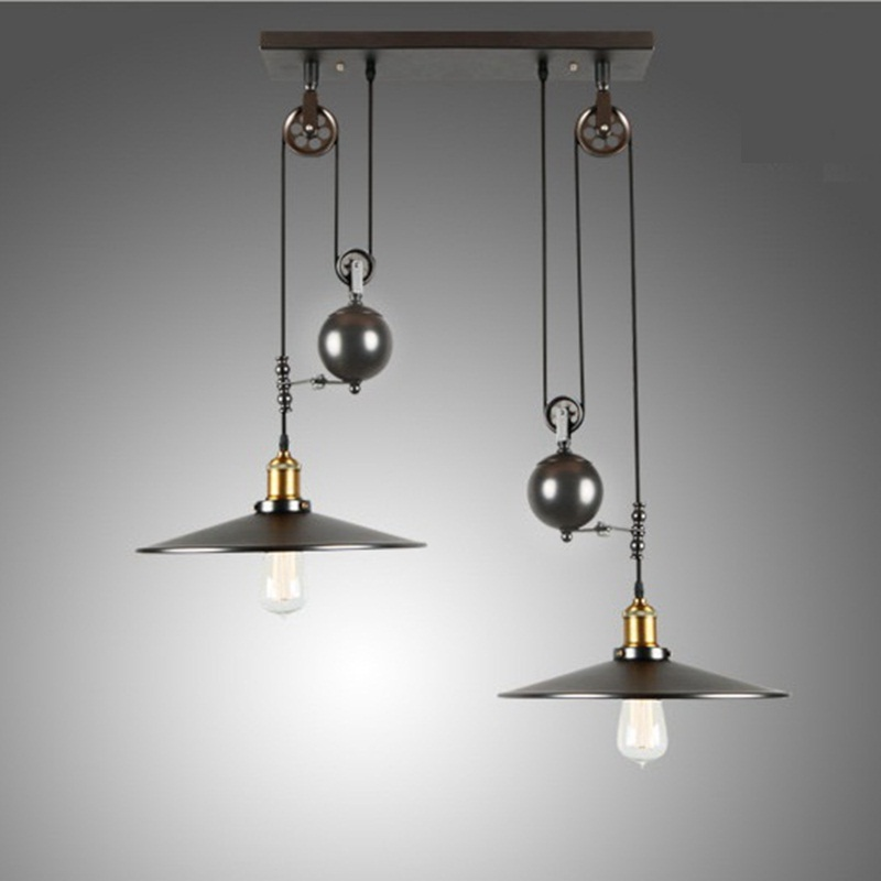 DHL/EMS/SPSR Loft Retro Wrought Iron Vintage Chandeliers Industrial Adjustable Pulley Pendant Lamps E27 Home Light Lamps Fixture свч mystery mmw 2021g 800 вт чёрный