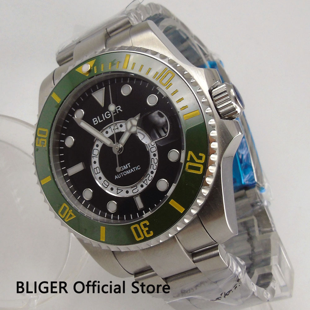 BLIGER 43mm Black Dial Green Ceramic Bezel Luminous Marks Men's Watch Sapphire GMT Function Automatic Movement Wrist Watches B21 цена