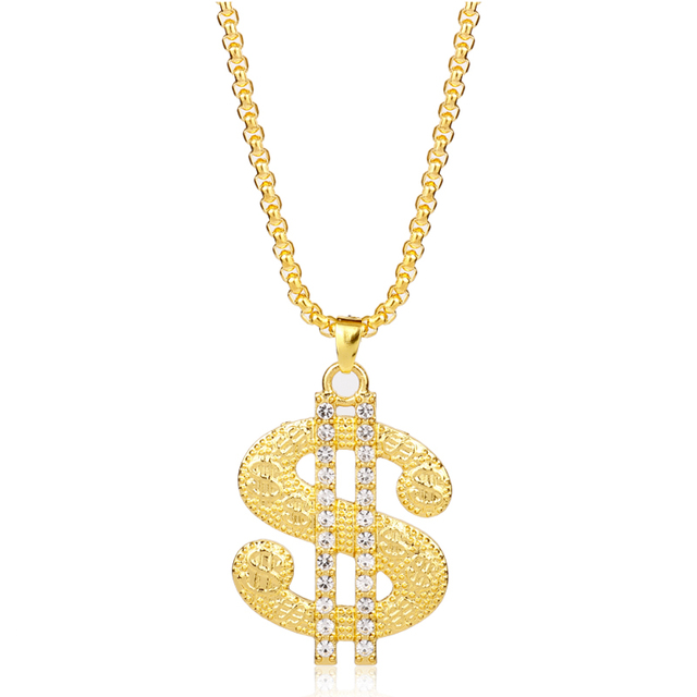 MQCHUN New Dollar Money Necklace   Pendant Gold Color Chain For Women Men  Rhinestone Hip Hop Bling Jewelry -30 e24b81c37e31