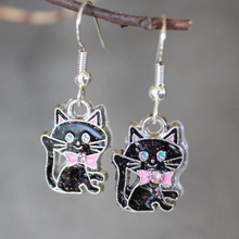 Design Drop Earrings Enamel Black Cat Dangle Earring For Women Christmas Gift Fashion Tibetan Silver Vintage Jewelry Party Gift