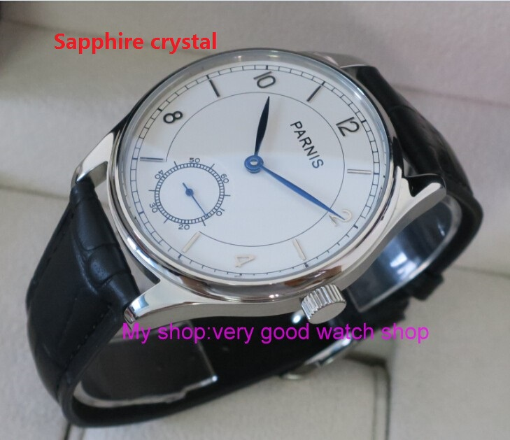 Sapphire crystal 44mm PARNIS White dial Asian 6498 Mechanical Hand Wind movement men's watch Mechanical watches RNM08 44mm parnis white dial asian 6498 3621 mechanical hand wind movement men s watch mechanical watches rnm9