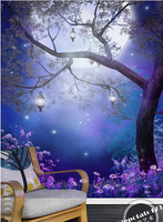 Latest High Quality Custom 3D Mural Dream Of The Big Tree Under The Moon Living Room