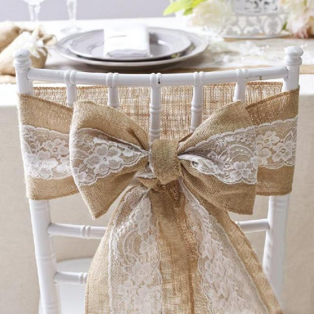 Jute Burlap Lace Natural Elegant Linen Lace Chair Sashes Jute Chair Tie Bow  For Rustic Wedding