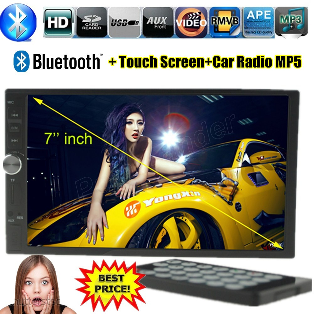 ФОТО 2 DIN 7 inch touch screen Bluetooth Support Rear View Camera Handsfree FM USB TF AUX MUTE TREBLE BASS Car MP5 MP4 Player radio