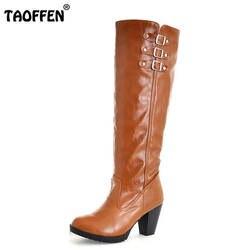 Женщины Высокий Каблук Над Коленом Сапоги Дамы Езда Мода Длинные снег Загрузки Теплые Зимние Botas Каблуки Обувь Обувь AH054 Размер 34-43