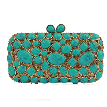 Sparkling Green Diamond stone wallet Hollow Out Women red blue Crystal Clutch Evening Bag Wedding Dinner Cocktail Handbag Purse