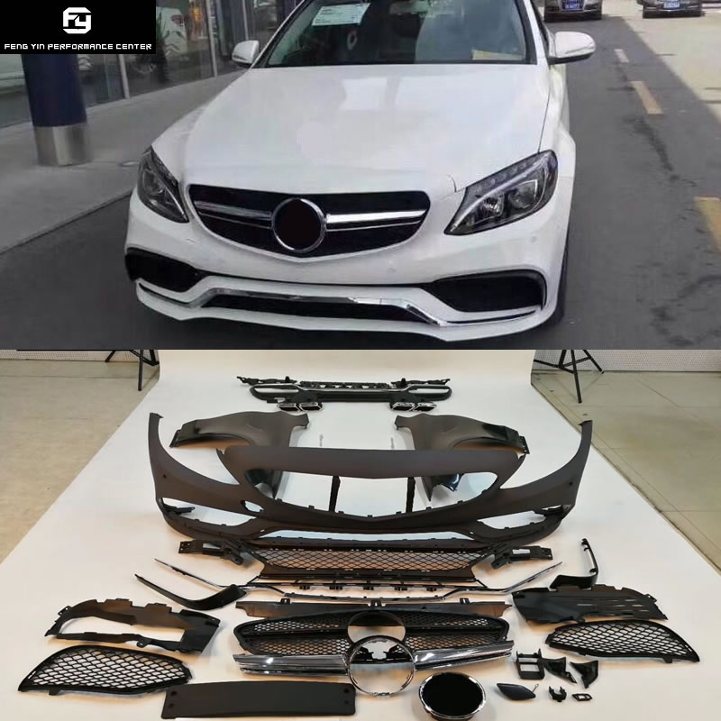 W205 C63 PP Unpainted front bumper rear diffuser fender front grill for Mercedes Benz W205 C63 AMG Car body kit 14-16 image