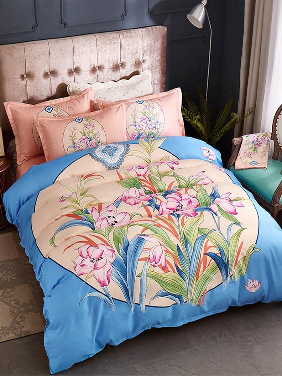 4 Pcs Bedroom Bed Linens Sweet Floral Pattern Skin-Friendly Bedclothes 4 Pcs Bedroom Bed Linens Sweet Floral Pattern Skin-Friendly Bedclothes