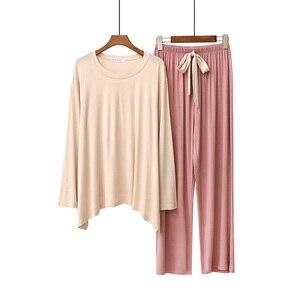Image 5 - Женский пижамный комплект, однотонная свободная пижама с длинным рукавом и брюки с круглым вырезом, комплект из 2 предметов, весна осень 2019
