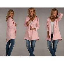 2018 Winter Coats Women Fashion Long Hooded Coat Casual Solid Outerwear Hoodies Jacket