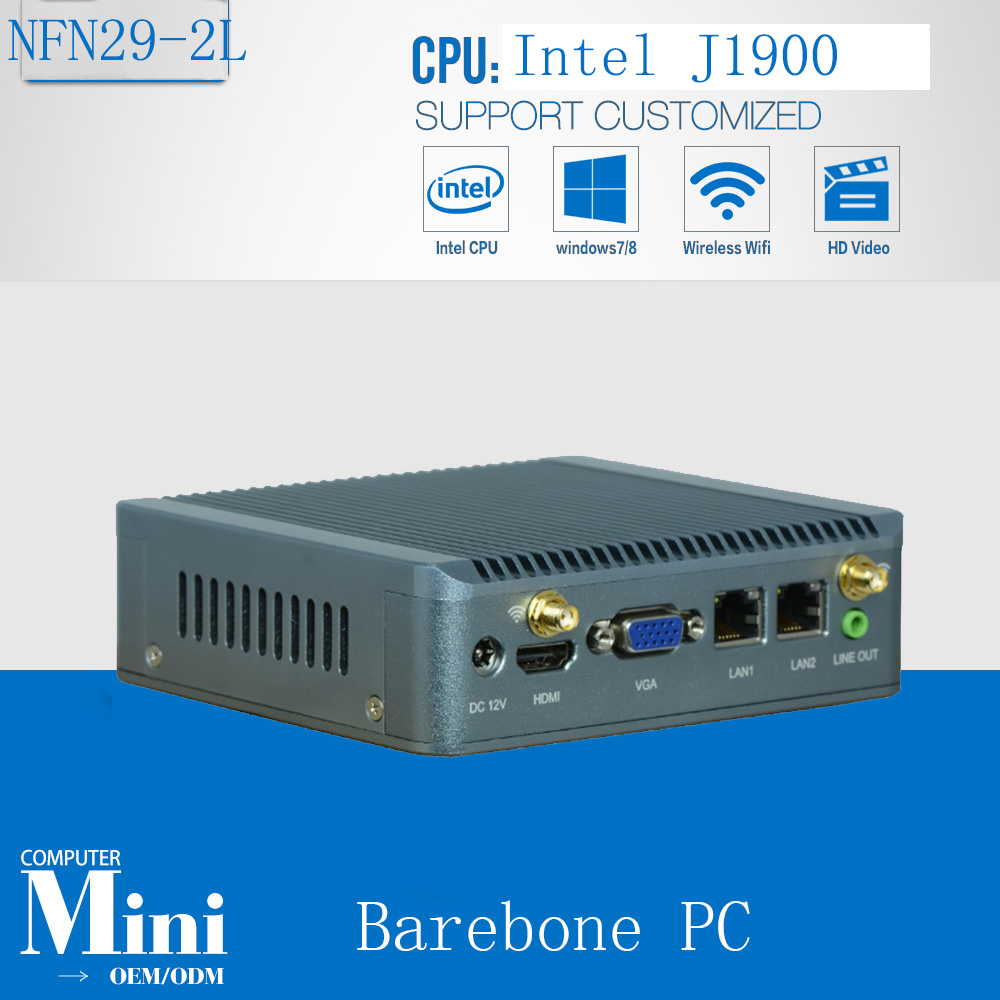 Two font b Network b font ports Industrial PC with J1900 Quad Core CPU system support