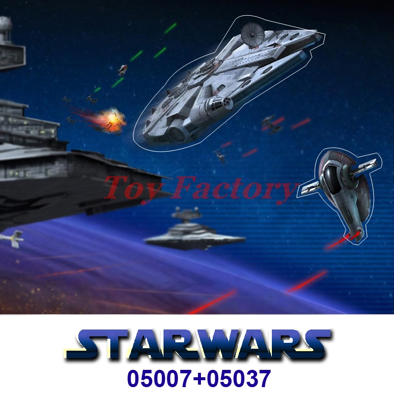 ФОТО LEPIN 05007 Star Wars Millennium Falcon+05037 UCS Slave I Slave NO.1 Building Block Bricks Toys Kits Children Gifts