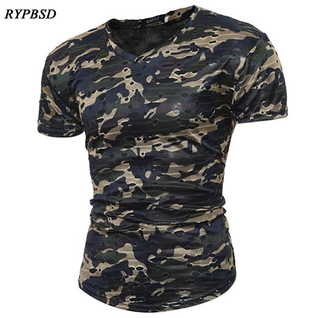 2019 Trou Nouveau Camouflage Déchiré Militaire Shirt Été T Hommes OZPkXiu