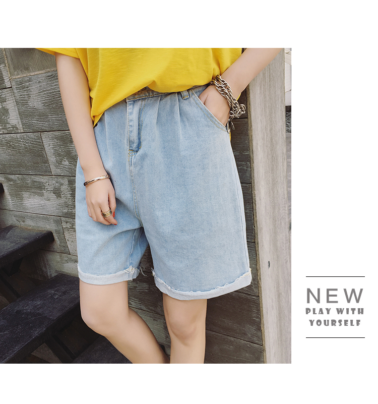 NiceMix 2019 fashion women summer casual korean high waist 1/2 length jeans straight BF style cowboy ladies knee denim   shorts