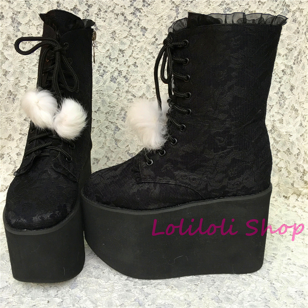 Princess sweet lolita gothic shoes Lolilloliyoyo antaina black flock skin cross lacing thick bottom mid-calf custom boots 5212n double buckle cross straps mid calf boots