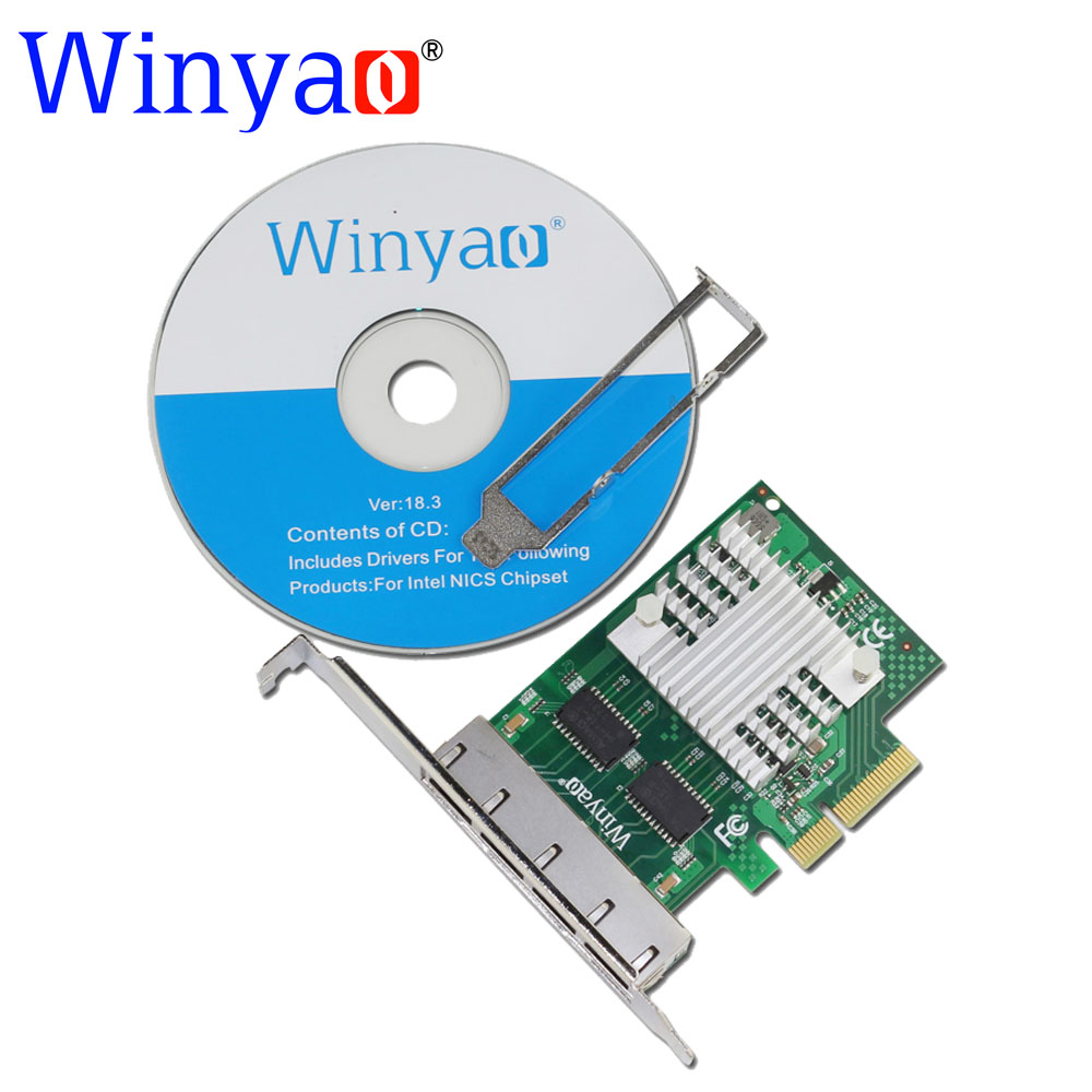 Winyao WY1000T4 PCI-E X4 Quad Port 10/100/1000Mbps Gigabit Ethernet Network Card Server Adapter LAN  intel I350-T4 NIC pcie x1 4 port gigabit ethernet server card adapter 10 100 1000mbps i340 t4 esxi