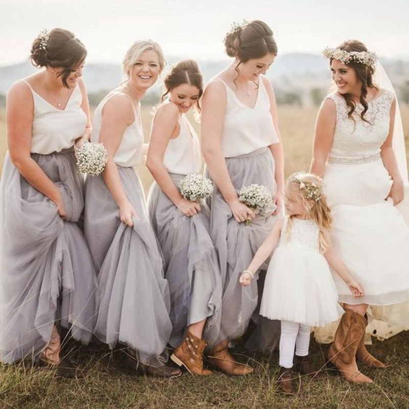 Buy long bridesmaid skirt a line floor for How to make a long tulle skirt for wedding dress