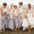 Personalized Bridesmaid Skirt Nature Waistline A Line Floor Length Full Maxi Skirt Elegant Party Skirts Women Long Tulle Skirt