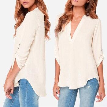 Summer Style womens chiffon blouse ladies White elegant sexy v-neck blouses 34 sleeve shirt female office shirt plus size 2016 girl