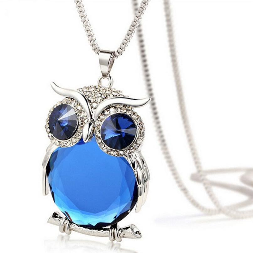 Pendant Rhinestone Owl Necklace