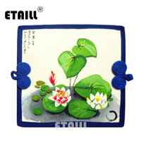 ETAILL Lotus Hand Painted Brand Design High Quality Card Holder National Style Long Wallet Purse Cotton