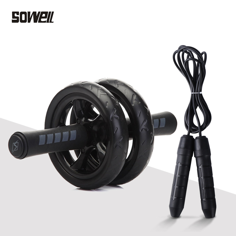 New Set Keep Fit Wheels & Rope Skipping No Noise Abdominal Wheel Ab Roller with Mat for Exercise Fitness Equipment