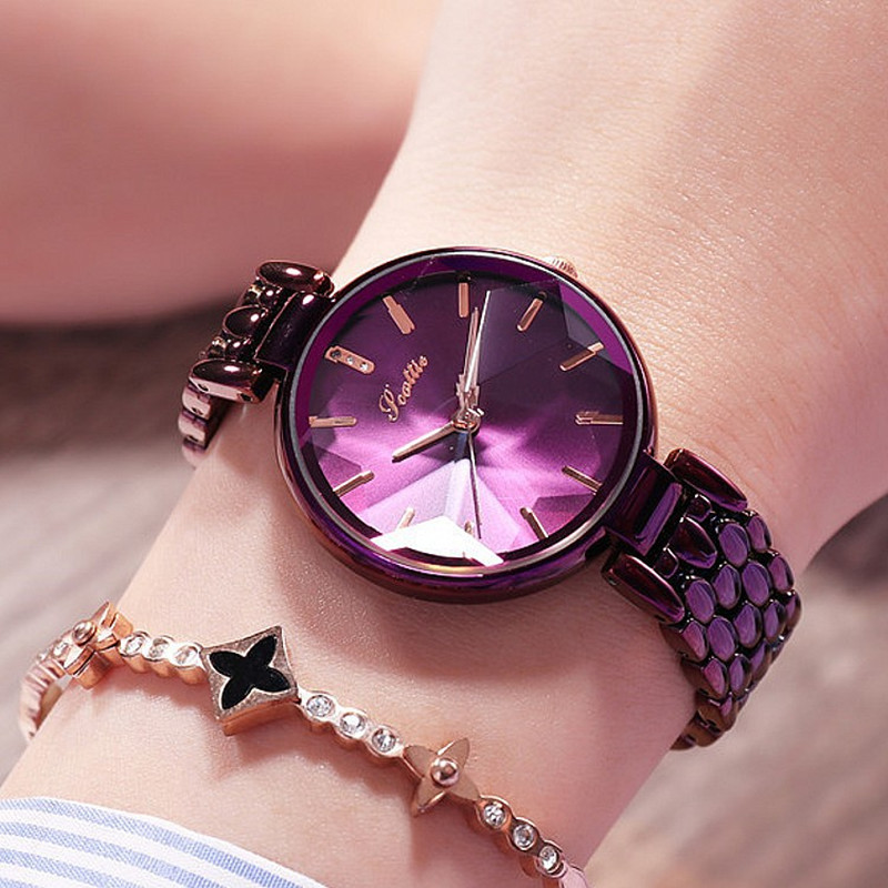 Luxury Purple Diamond Dial Women Watches Ladies Elegant Casual Quartz Watch Woman Dress Watches Clock Women relojes para mujer women guou luxury watch bling genuine leather strap full crystal diamond quartz ladies wristwatch mujer relojes casual watches