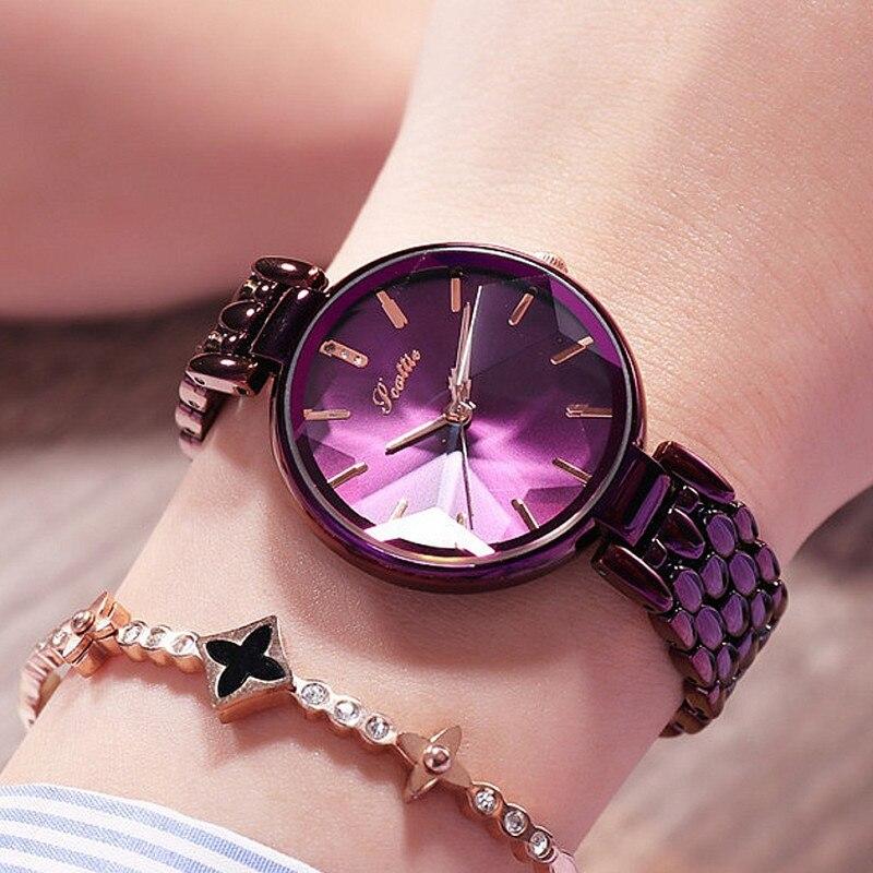 Reloj de cuarzo Casual elegante para mujer con esfera de diamante púrpura de lujo para mujer