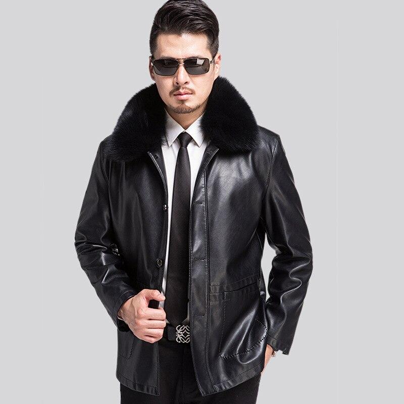 Men Leather Jacket Winter Thick Fleece Middle-aged Leather Jacket Coat Jaqueta De Couro Masculina Big Size 3XL Veste Cuir Homme