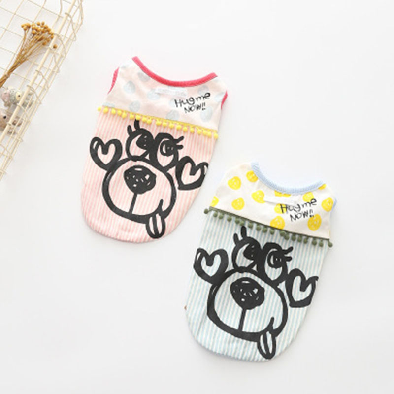 2018 Dog Clothes for Small Dogs French Bulldog Vest Summer Cat Chihuahua Clothing Cartoon Pattern Dog Tshirt Puppy Apparel 2XL