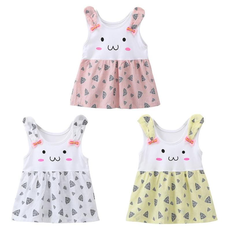 Casual Newborn Girls Baby Dress Newborn Baby Girls Summer Cotton Cartoon Rabbit O-Neck Casual Vest Dresses Toddler Girl Clothes