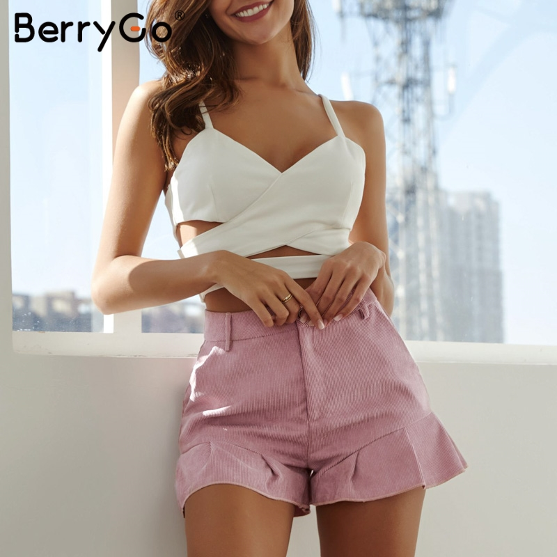 BerryGo women   short   pants plus size   shorts   Summer ruffled zipper   shorts   female hot pants Sexy streetwear holiday pink   shorts