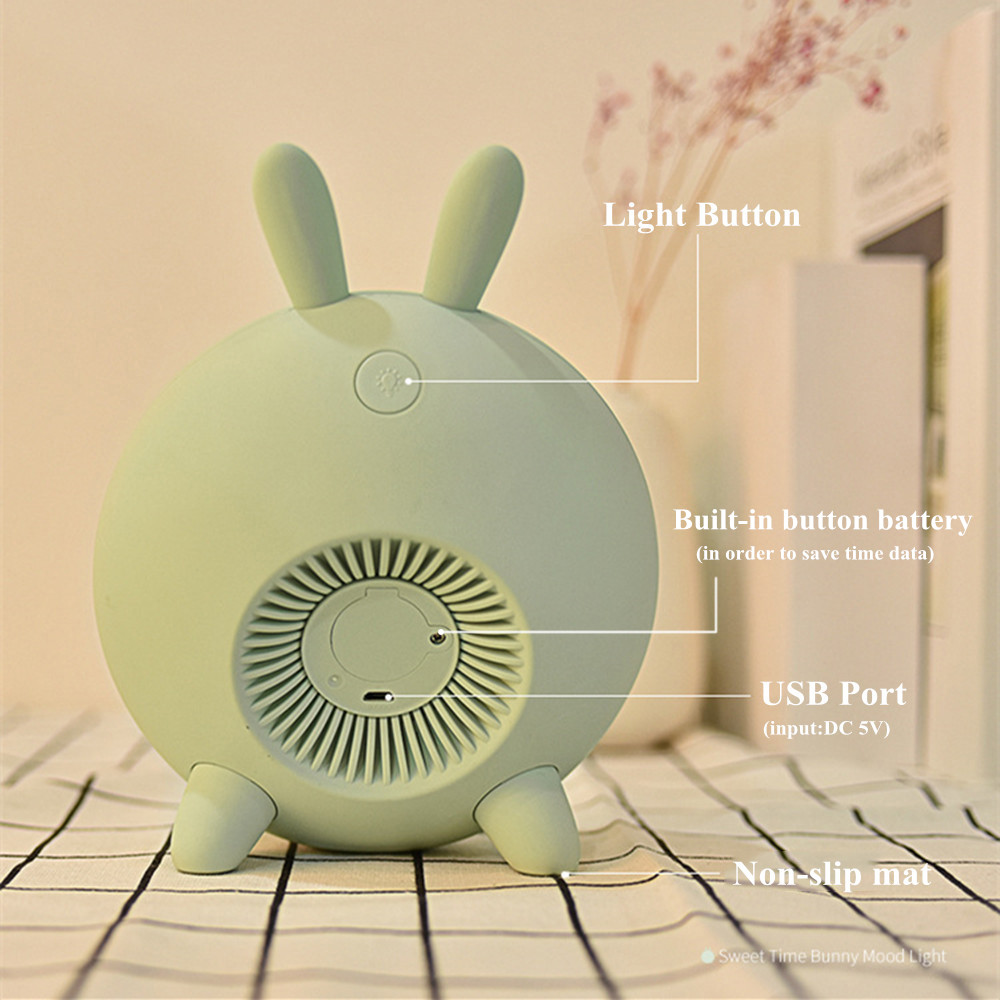 Bunny Alarm Clock with Touch Sensor Colorful LED Night Light Sunrise Sunset Modes Stepless Dimming Rabbit Bedroom Bedside Lamp (12)