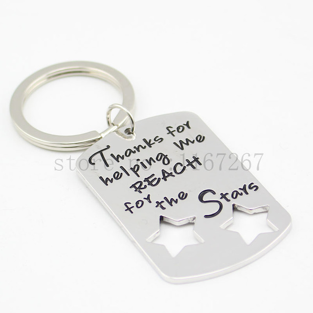 """Teacher Coach Appreciation keychain """"Thanks For Helping Me Reach for The Stars"""" Keychain &necklace Personalized Teacher Gift"""