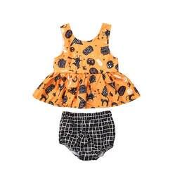 Комплект одежды наряд для маленьких девочек одежда для первого Хэллоуина летние топы без рукавов, клетчатые шорты хлопковый комплект из 2