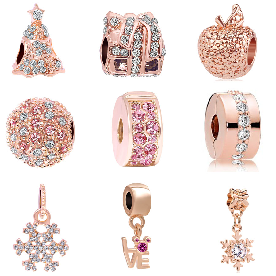DIY Rose Gold European Beetle Charm Crystal Spacer Beads Fit Necklace Bracelet —