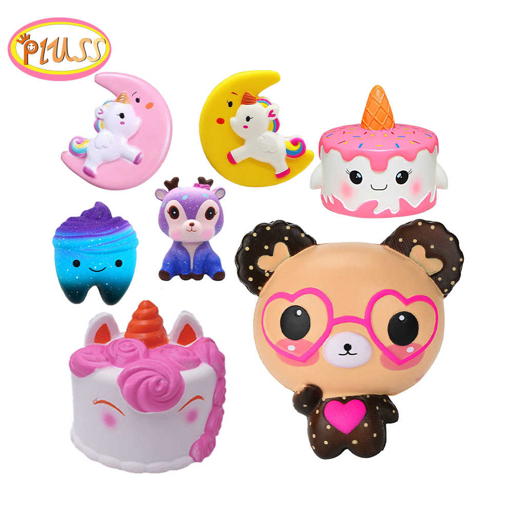 squishy deer teeth candy Jumbo Squishy Cute Unicorn Whale Cake Squishies Slow Rising Cream Scented Squeeze Toy Phone Strap