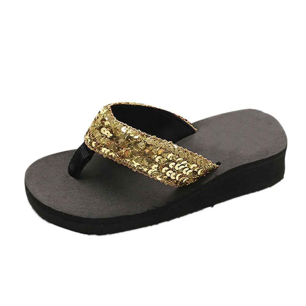 HTB1jLC3cUGF3KVjSZFmq6zqPXXab Summer Women Flip Flops Casual Sequins Anti-Slip slippers Beach Flip Flat Sandals Beach Open Toe Shoes For Ladies Shoes #L5