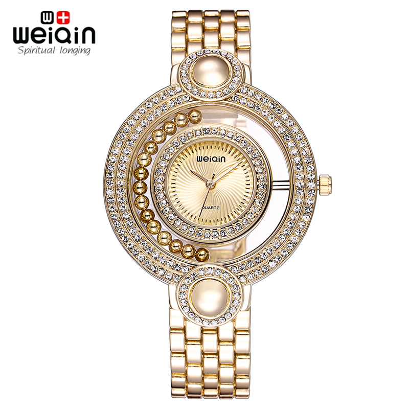 Prix pour WEIQIN Marque Dames Montre En Or Mode Perle Strass Cadran Rond Analogique Quartz Robe Montres Femmes Wateroroof Cadeau reloje mujer