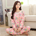Fashion Women Sleepwear Floral Flower Pijamas Long Sleeve Women Pyjamas Sets Cute Sleepwear Pijama Long Pants Nighty Lounge